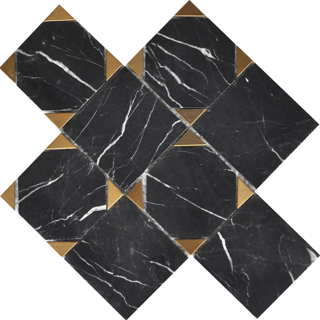 Nero Marquina + Gold Brass Squares Marble Waterjet Mosaic Tilezz