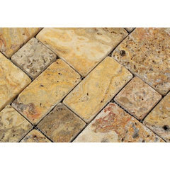 Scabos Travertine 3 Pieced Mini Pattern Tumbled Mosaic Tile