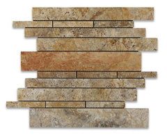 Scabos Travertine Honed Random Strip Mosaic Tile