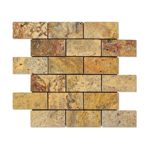 Scabos Travertine 2x4 Tumbled Mosaic Tile Stone Tilezz