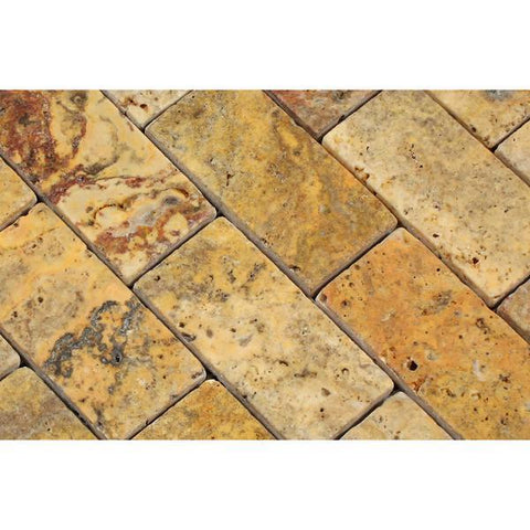 2X4 Scabos Travertine Tumbled Mosaic Tile