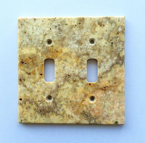 Scabos Travertine Double Toggle Switch Wall Plate