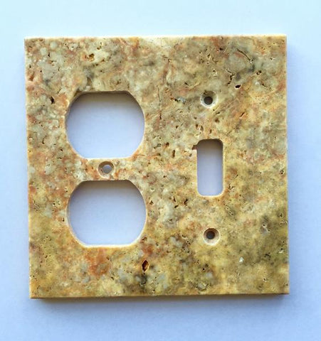 Scabos Travertine Toggle Duplex Switch Plate Tilezz