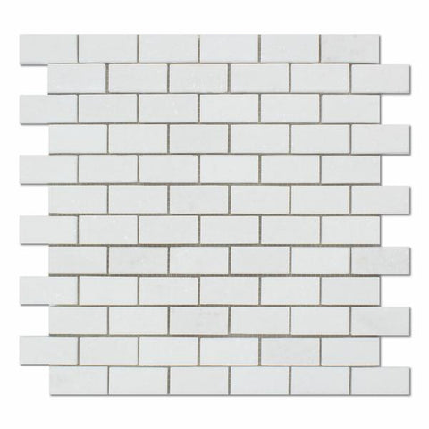 Thassos White 1x2 Brick Marble Mosaic Polished & Honed Stone Tilezz