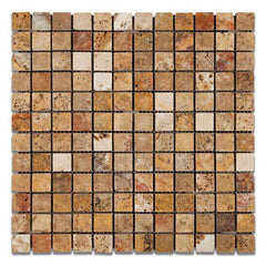 Scabos Travertine 1x1 Tumbled Mosaic Tile Stone Tilezz