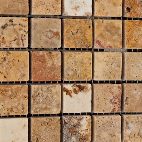 1X1 Scabos Travertine Tumbled Mosaic Tile