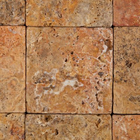 4X4 Scabos Travertine Tumbled Field Tile