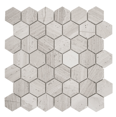 "Haisa Light ( White Oak ) 2"" Hexagon Mosaic Honed Tilezz"