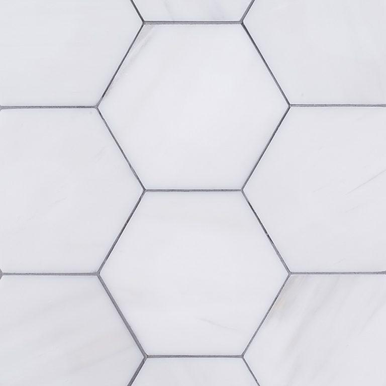 "Bianco Dolomite 4"" Hexagon Mosaic Polished Tilezz"