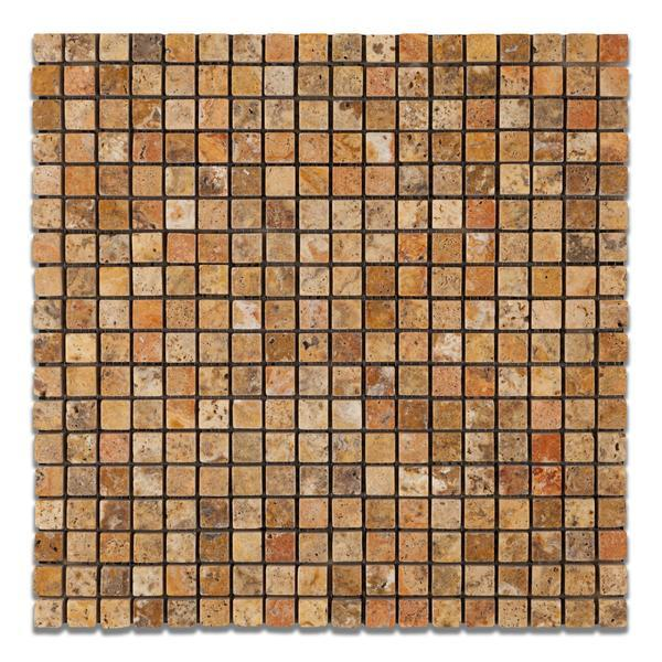 Scabos Travertine 5/8x5/8 Tumbled Mosaic Tile Stone Tilezz