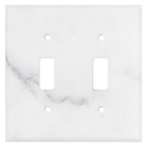 ITALIAN CALACATTA GOLD MARBLE DOUBLE TOGGLE SWITCH WALL PLATE / SWITCH PLATE / COVER - HONED OR POLISHED