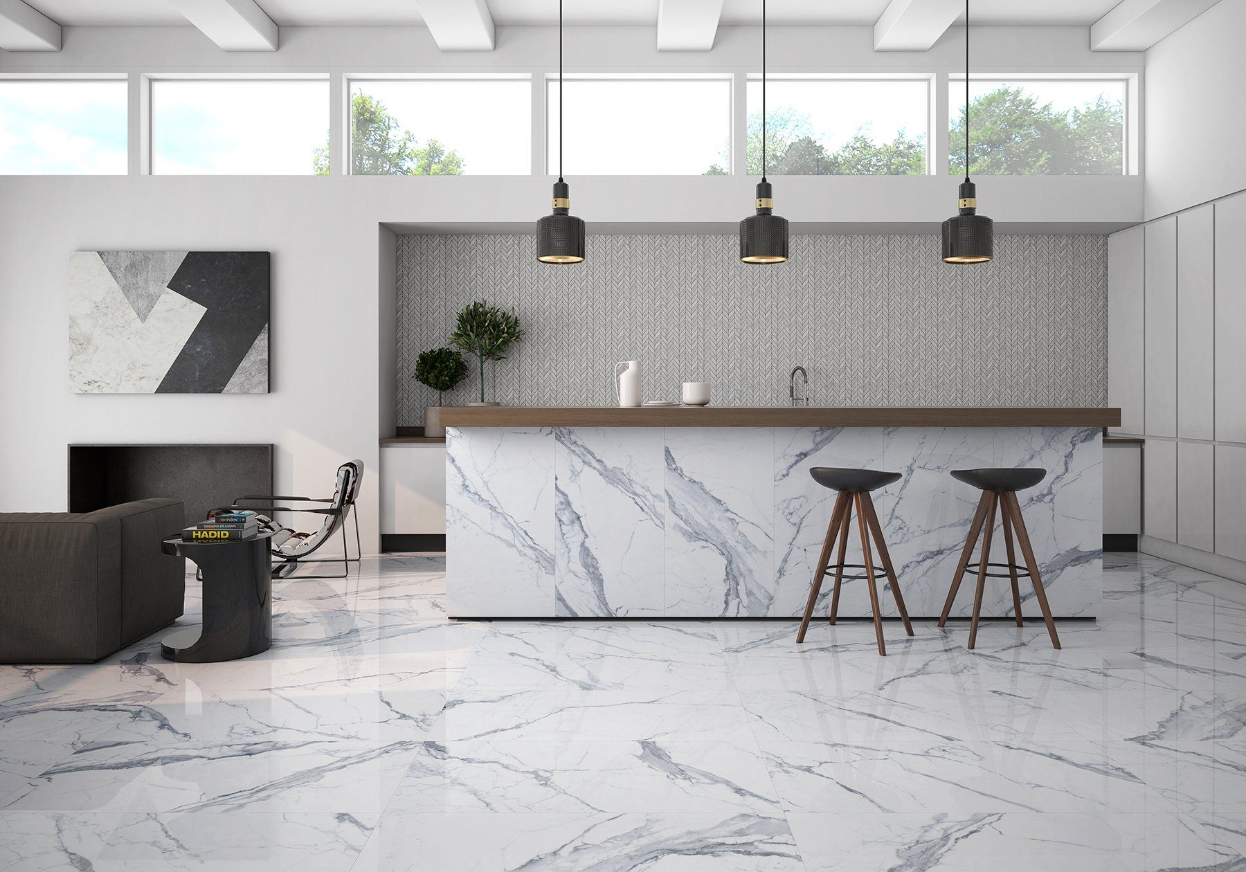 ROCA Tile Bianco Venatino 24x24 Polished Porcelain Tile Tilezz