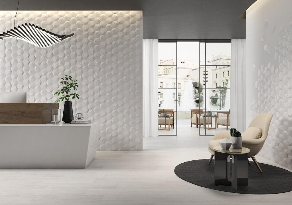 "Dimensions Hexagon 3D 6""x7"" Wall Tile in White Tilezz"