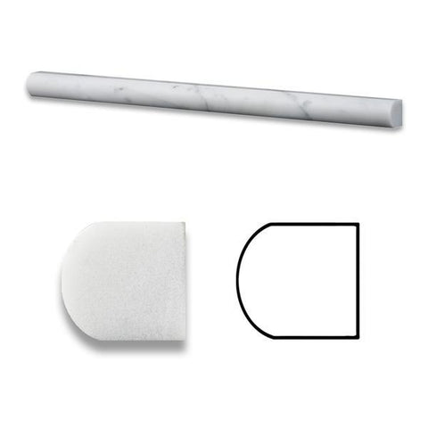 CARRARA WHITE MARBLE POLISHED OR HONED 3/4 X 12 BULLNOSE LINER