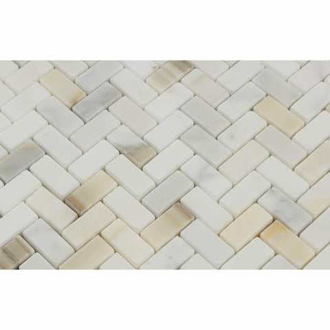 Calacatta Gold Herringbone Mini Mosaic Polished/Honed Stone Tilezz