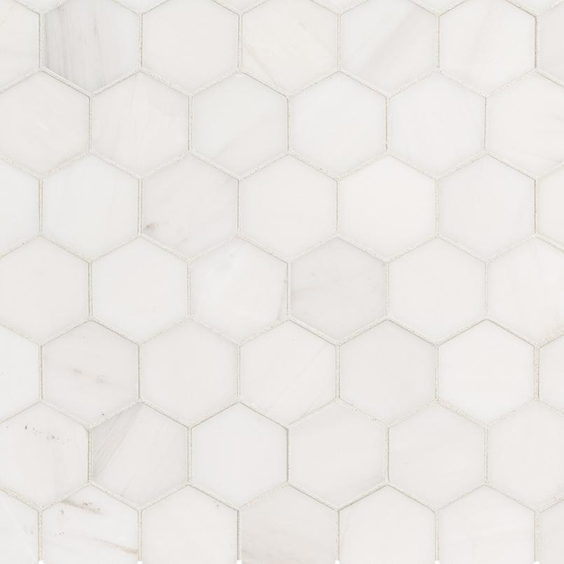 "Bianco Dolomite 2"" Hexagon Mosaic Polished Tilezz"
