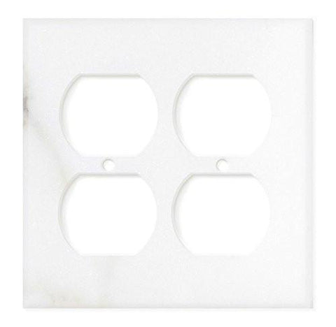 ITALIAN CALACATTA GOLD MARBLE DOUBLE DUPLEX SWITCH WALL PLATE / SWITCH PLATE / COVER - HONED OR POLISHED
