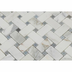 Calacatta Gold Marble Basketweave with Blue Marble