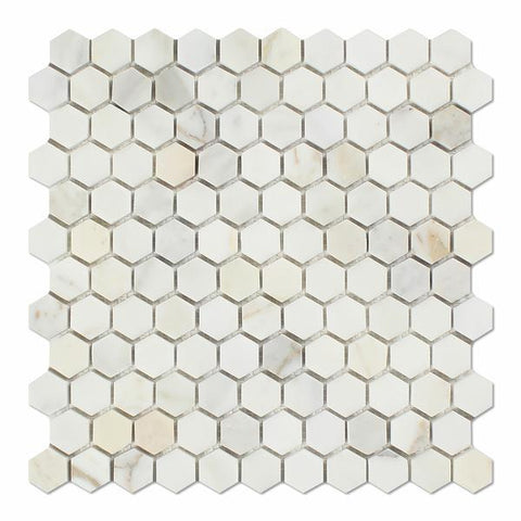 "Calacatta Gold Hexagon 1"" Mosaic Tile Polished/Honed Stone Tilezz"