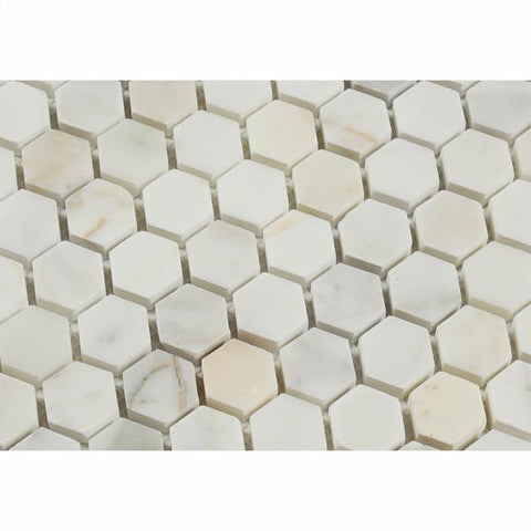 "Calacatta Gold Marble Polished or Honed  1"" Hexagon Mosaic Tile"