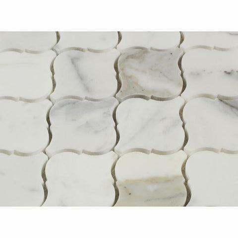 "Italian Calacatta Gold Marble Polished or Honed  2"" Arabesque Tile"