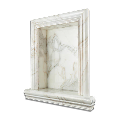 Calacatta Gold Marble Hand-Made Shampoo Niche / Shelf - Large Bath Accessories Tilezz