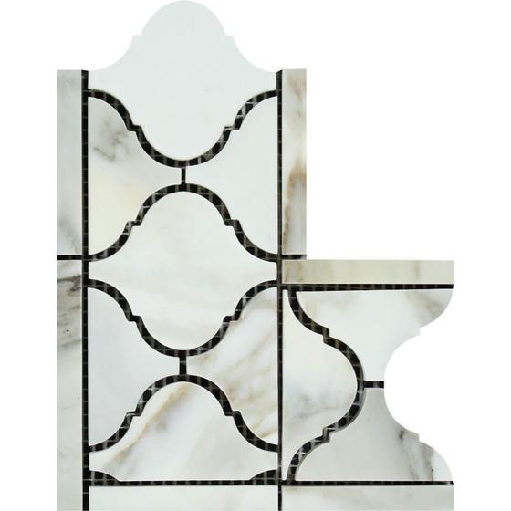 Calacatta Gold 4x12 Lantern Border Corner Polished / Honed Stone Tilezz
