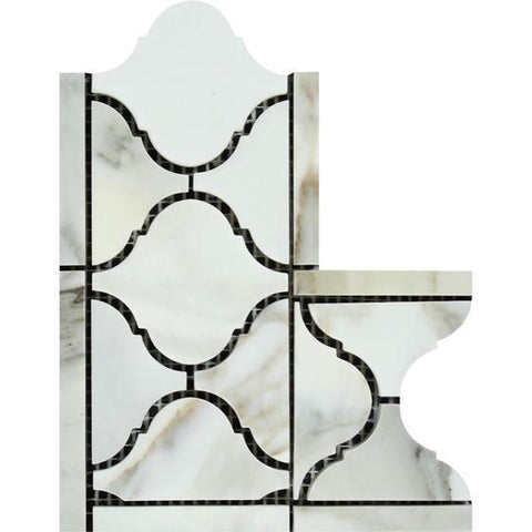 "4"" X 12"" Calacatta Gold Honed or Polished Marble Lantern Border Corner"