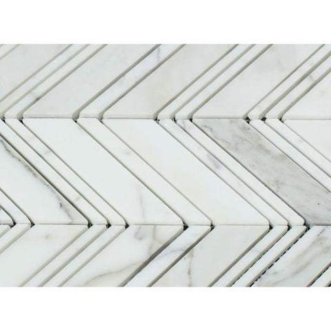 Calacatta Gold Honed or Polished Marble Large Chevron Mosaic Tile w/ Calacatta Gold Strips