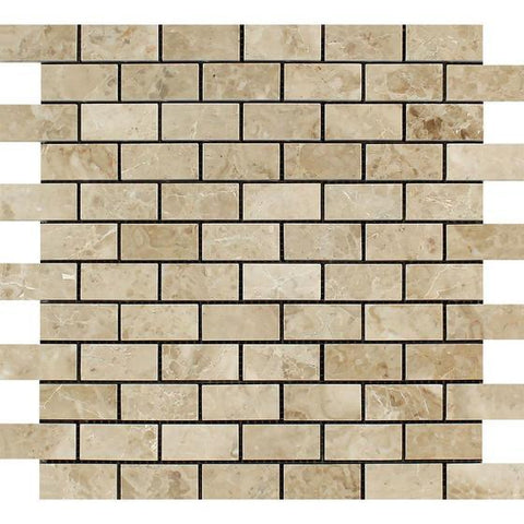 Cappuccino 1x2 Brick Polished Marble Mosaic Stone Tilezz