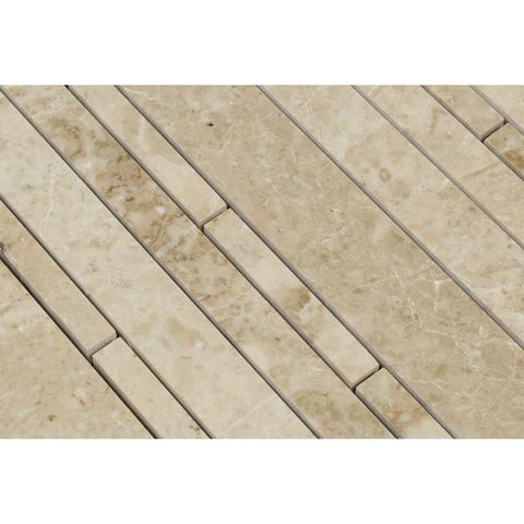 Cappuccino Random Strip Polished Marble Mosaic Tile Stone Tilezz