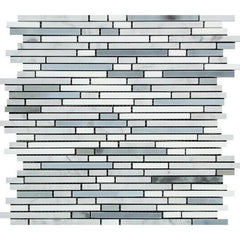 Carrara White Bamboo Sticks w/ Blue-Gray and Thassos Marble Mosaic Tile