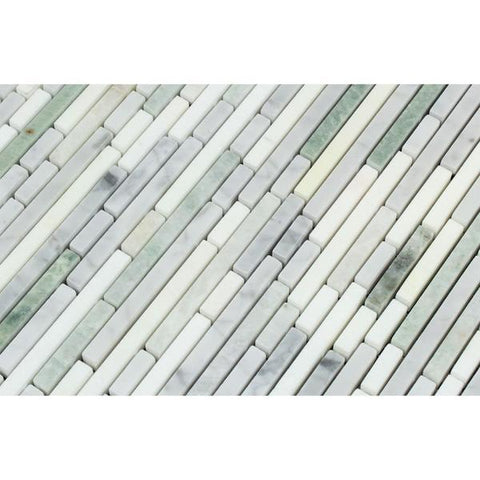 Carrara White Bamboo Sticks w/ Green and Thassos Marble Mosaic Tile