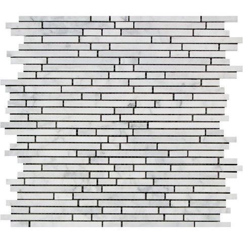 Carrara White Bamboo Sticks Mosaic Tile Polished or Honed