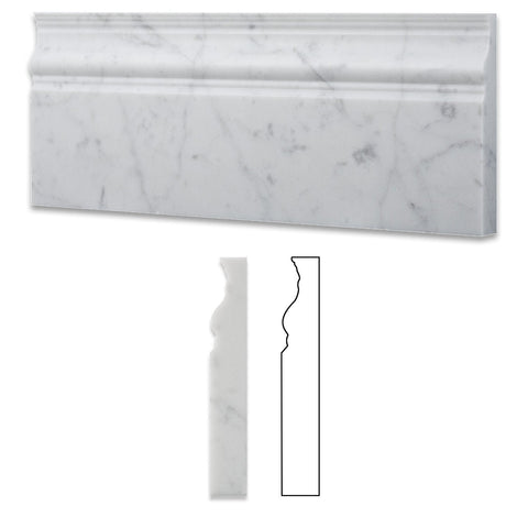 Carrara White Marble 5X12 Baseboard Molding Polished/Honed
