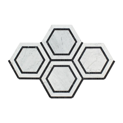 5x5 Carrara White Hexagon Mosaic Tile w/Black Polished or Honed