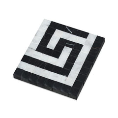 Carrara White Greek Key Border Corner w/Black Marble Stone Tilezz