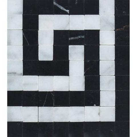 "4"" X 4"" Italian Carrara White Greek Key Border Corner w/Black Marble Polished or Honed"