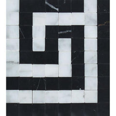 Carrara White Greek Key Border Corner w/Black Marble