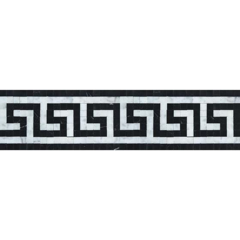 Carrara White Greek Key Border w/ Black Polished or Honed
