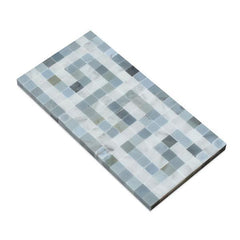 Carrara White Greek Key Border with Blue Marble Polished/Honed
