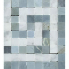 Carrara White Greek Key Border Corner w/Blue Gray Marble
