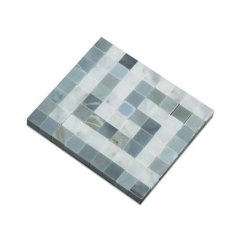 Carrara White Greek Key Border Corner w/Blue Gray Marble Stone Tilezz