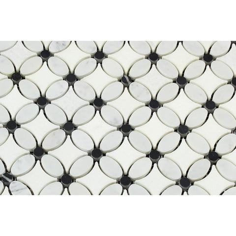 Carrara Honed or Polished Marble Flower Flower Mosaic Tile (Thassos + Carrara (Oval) + Black (Dots))