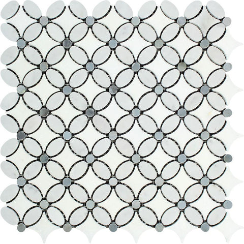 Carrara White Honed or Polished Marble Flower Mosaic Tile (Thassos + Carrara (Oval) + Blue-gray (Dots))