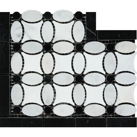 Carrara White  Honed or Polished  Marble Florida Flower Corner (Thassos + White Carrara (Oval) + Black (Dots))