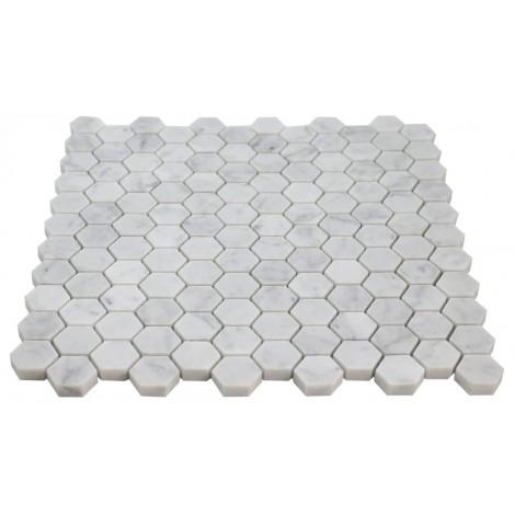 "Carrara White Hexagon 1"" Mosaic Polished/Honed Stone Tilezz"