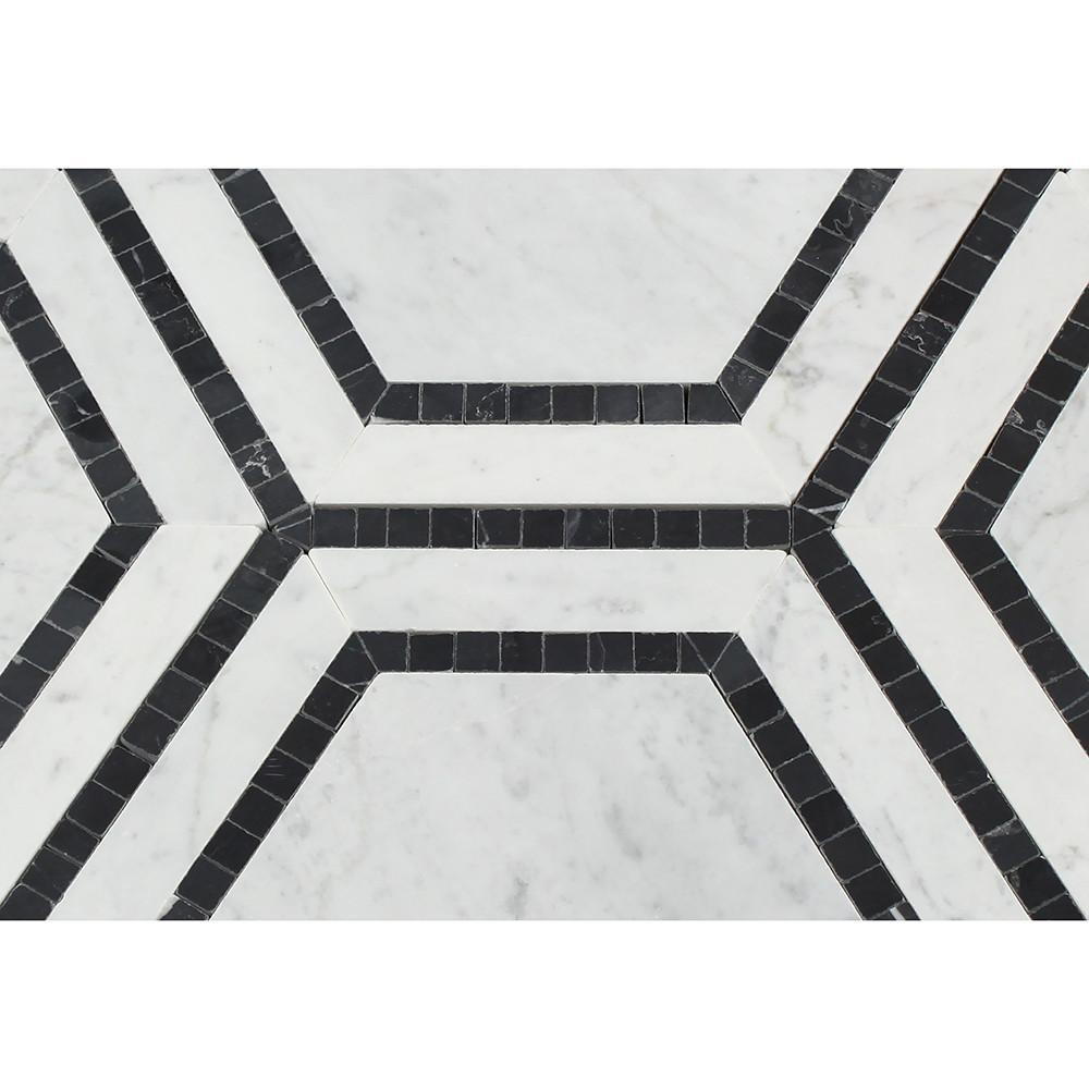 Carrara White Hexagon With Black Marble Polished Honed