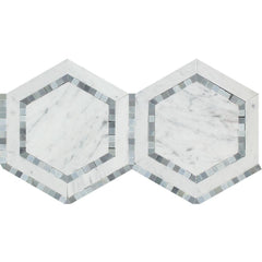 "5"" X 5"" Italian Carrara White Hexagon w/ Blue Gray Marble Polished or Honed"