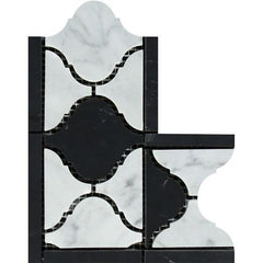 Carrara White Lantern Border Corner w/Black Marble Polished/Honed